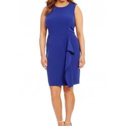 Vince Camuto Plush Crepe Ruffle Bodycon Sheath Cobal Blue Dress Size 22W