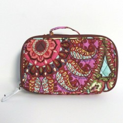Vera Bradley Resort Medallion Blush Brush Quilted Makeup Train Case
