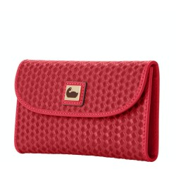 Dooney & Bourke Woven Continental Leather Strawberry Clutch Wallet
