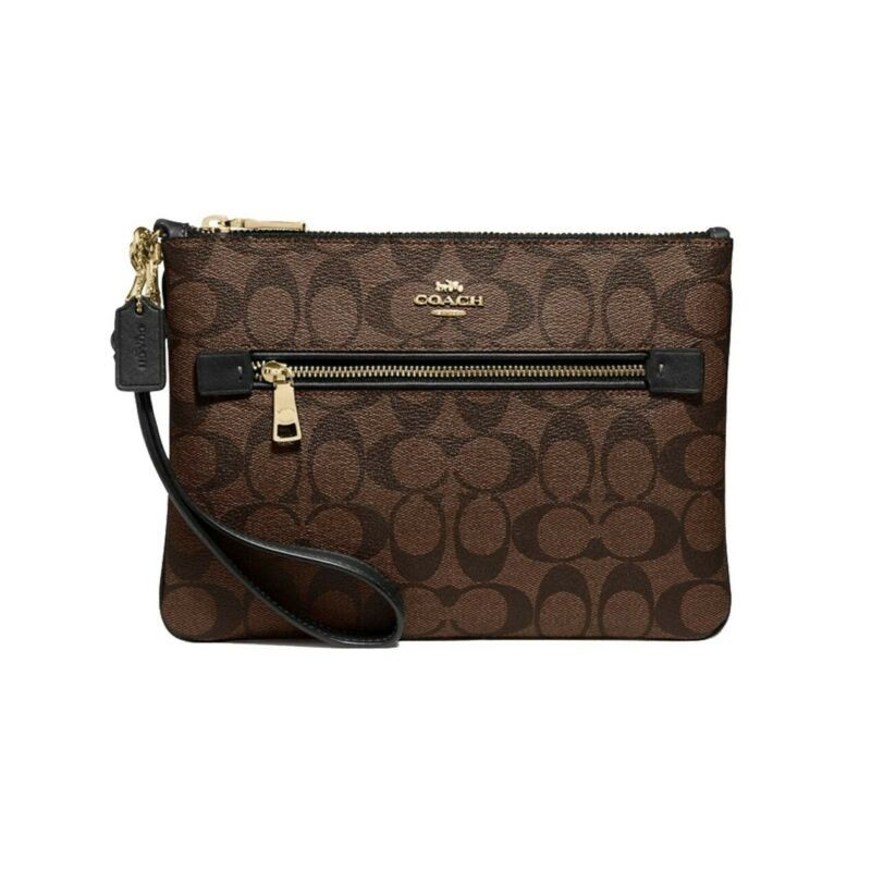 Coach Gallery Pouch Brown Black Signature Canvas Zip Wrislet Bag