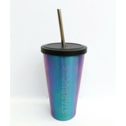 Starbucks Purple Blue Iridescent Stainless Steel Cold Cup Tumbler 16 Fl Oz