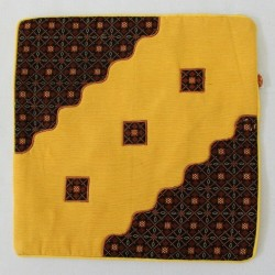 Handmade Fabric Ethnic Indonesian Batik Pillow Cushion Cover - Brown Yellow