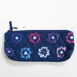Vera Bradley Ellie Flowers Blue Brush Pencil Case