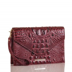 Brahmin Sara Clutch Melbourne Croc-Embossed Leather Wristlet Bag