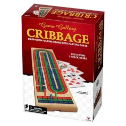 Game Gallery Cribbage Solid Folding 3-Track Board with Playing Cards