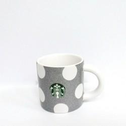 Starbucks 2019 White Dot Silver Sparkle Demi Ceramic Cup 3 Fl Oz